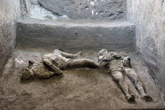 The casts of what are believed to have been a rich man and his male slave who died while fleeing the volcanic eruption of Vesuvius nearly 2000 years ago.