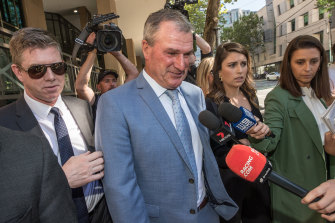 Disgraced horse trainer Darren Weir leaves the Melbourne Magistrates Court in October.