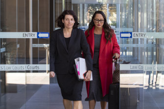 Sue Chrysanthou, SC, left, and solicitor Rebekah Giles leave the Federal Court in Sydney on Thursday.