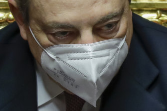 Italy's  new Prime Minister Mario Draghi in the Senate in Rome before submitting his government to a vote of confidence.