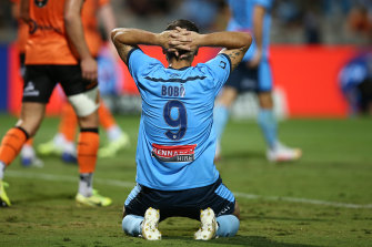 So close ... Returning Sydney FC star Bobo.