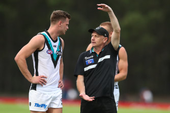 Tall task: Ken Hinkley's coaching future at Port Adelaide hinges on a finals berth.