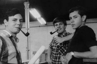 Roland Catalniat left, and Karl Fender at right, circa 1966.