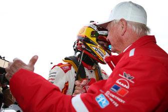 Dick Johnson (right) congratulates Scott McLaughlin after the race.