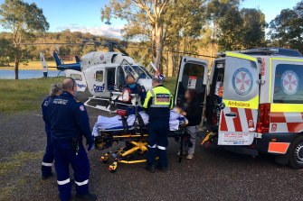 Paramedics treated the man before he was taken to hospital in a helicopter.