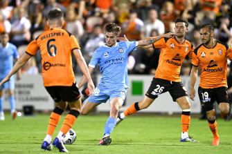 Connor Metcalfe pulls the trigger to kick the winning goal for Melbourne City.