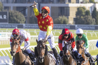 James McDonald salutes after piloting Captivant to victory in the Champagne Stakes at Randwick in April.