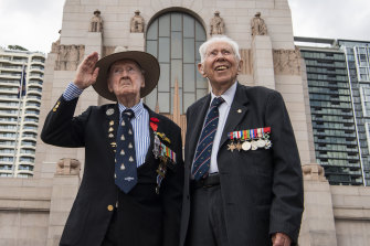 Ron Houghton, 96 (L) and Tony Adams, 97 at The Royal Australian Air Force centenary commemoration at the Anzac Memorial.