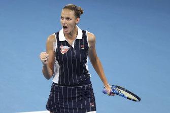 Karolina Pliskova celebrates during her Brisbane International final victory over Madison Keys.