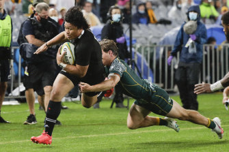 Caleb Clarke starred for the All Blacks against the Wallabies.