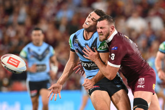Kurt Capewell irons out Penrith teammate Nathan Cleary during last year's Origin series.