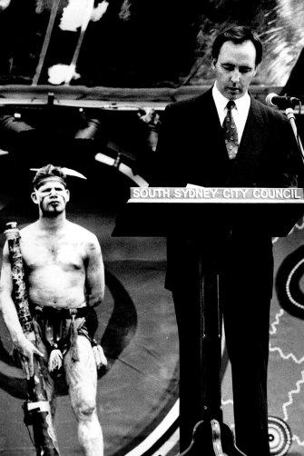 Paul Keating delivers his landmark Redfern Speech in 1992.