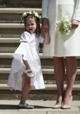 Princess Charlotte with the Duchess of Cambridge after the church service.