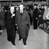 Prime Minister Robert Menzies arriving at the funeral for Labor leader, Ben Chifley, in Bathurst on 17 June 1951.