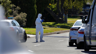 Forensic investigators were at the scene on Tuesday.