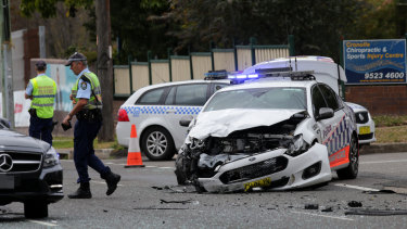 The police car after the collision on Wednesday.