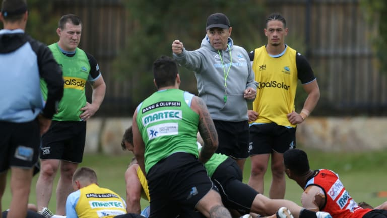Facing exile: Shane Flanagan oversees a Sharks pre-season training session.