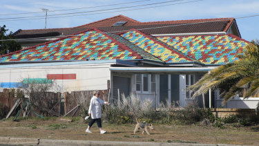 A woman walks her dog past the home. John Hall painted each tile in one of four colours in the stunning tribute.