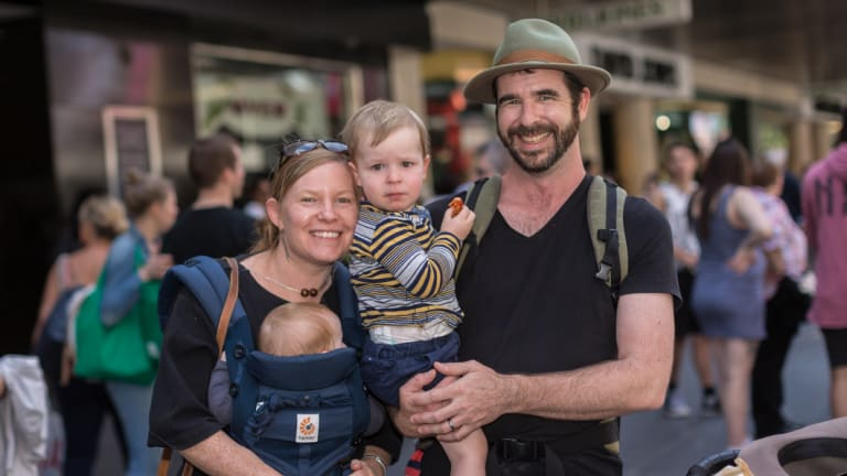 Jaye and Judah Ryan with their two children Lier (5 months) and Tavi (2 years) decided not to buy anything in Bourke Street Mall.