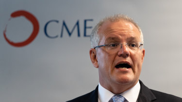 Prime Minister Scott Morrison at an International Women's Day event at the Chamber of Minerals and Energy.