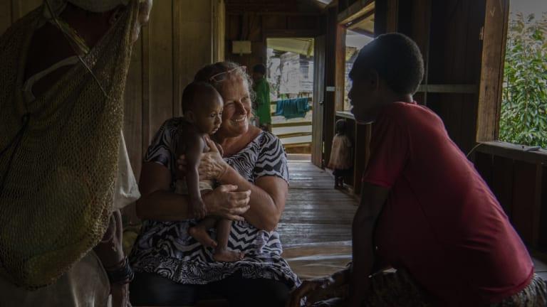 Sally Lloyd at work in Mougulu's clinic.