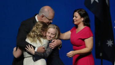 Prime Minister Scott Morrison with wife Jenny and daughters Abbey and Lily.