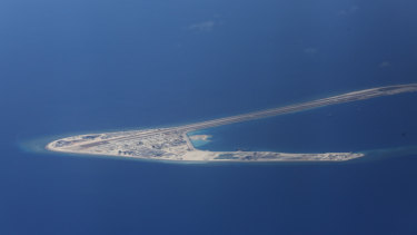 Chinese structures and an airstrip on the man-made Subi Reef, in the South China Sea.