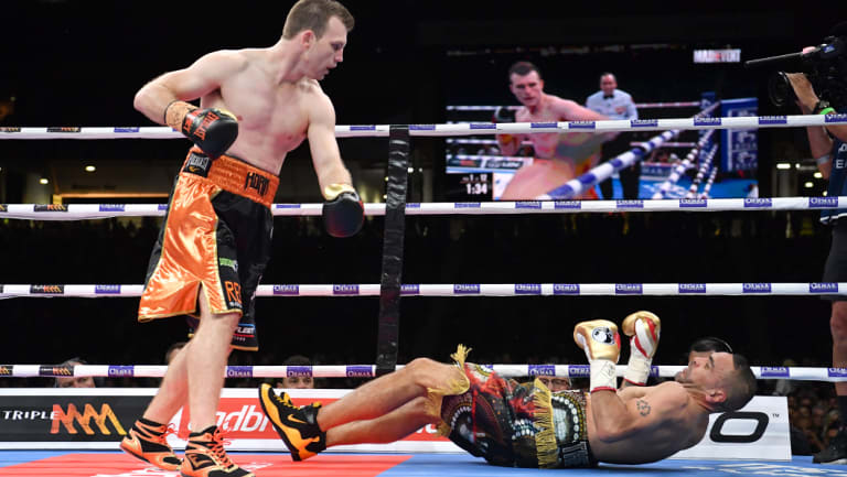 Over and out: Jeff Horn floors Anthony Mundine.