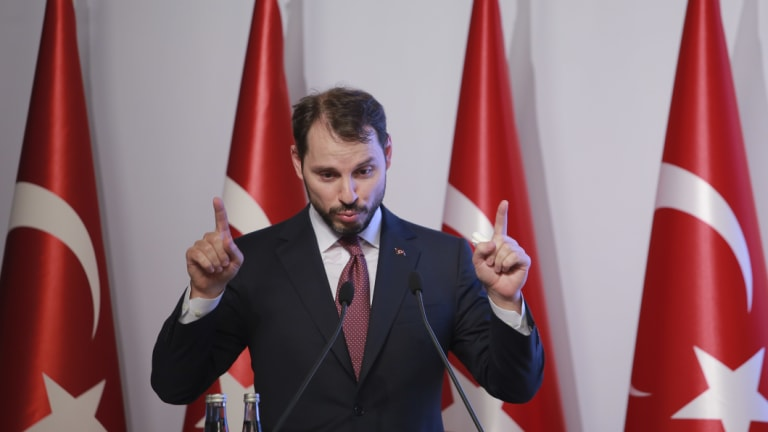 Turkish Treasury and Finance Minister Berat Albayrak, who is the president's son-in-law, tries to allay investor concerns earlier this month.