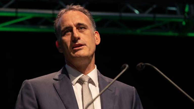 Wesfarmers Managing Director Rob Scott speaks during the Wesfarmers 2018 annual general meeting in Perth.