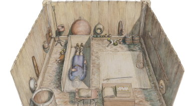 An artist's impression of the tomb which contained 40 artefacts including treasures from other kingdoms in an Anglo-Saxon Christian burial chamber at Prittlewell.