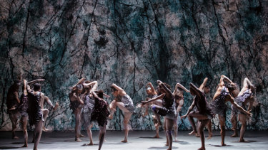A scene from <i>Dark Emu</i> with Bangarra Dance theatre Ensemble.