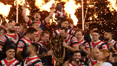 Grand moment: The Roosters set ANZ stadium alight with their scintillating display in this year's grand final.