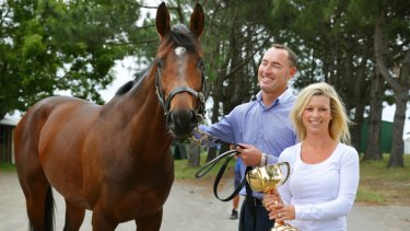 Another Cup: Jamie and Kellie Lovett with their Melbourne Cup winner Protectionist.