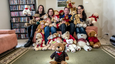 The Anthoney family (from left) Jarrett, Nalani, Steve and Yvonne with Dainere's collection of Myer Christmas Bears.