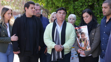 The Vieira family speaking to the media outside St George Hospital last month.