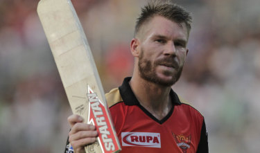 David Warner acknowledges the crowd as he walks back to pavilion after hammering 85 for the Sunrisers Hyderabad against the Kolkata Knight Riders in Kolkata on Sunday.