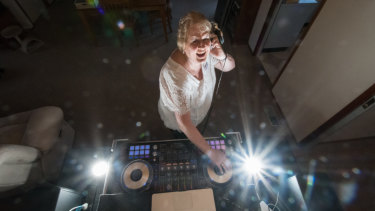 """Sue's elaborate lighting and sound system is """"packed into my SUV like a jigsaw puzzle""""."""