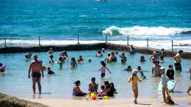 People enjoying the hot weather at Cronulla beach.