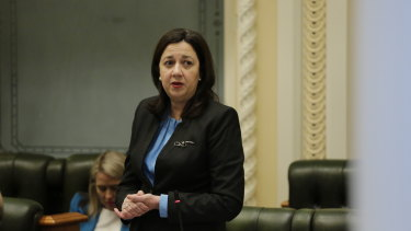 Premier Annastacia Palaszczuk during Question Time on the last sitting day of Queensland Parliament before the October 2020 election.