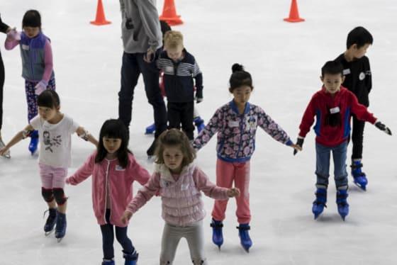 Children skating at Macquarie Ice rink.