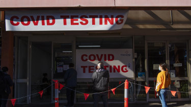 Campsie COVID-19 testing clinic, during Sydney's Lockdown. COVID-19 Coronavirus. 4th July 2021 Photo Louise Kennerley SMH