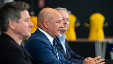 Stan CEO Mike Sneesby, interim Rugby Australia CEO Rob Clarke and Nine Entertainment Co CEO Hugh Marks when the broadcast rights were announced.