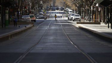 Bourke Street, typically one of Melbourne's busiest streets, has been deserted during the extended lockdown.