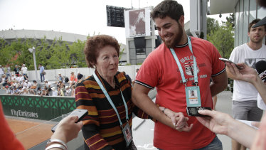 Marco Trungelliti's grandmother Dafne Botta and his brother Andre after the Argentine beat Bernard Tomic on Monday.