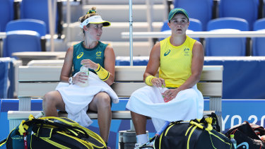Storm Sanders and Ash Barty during their first round women's doubles win.