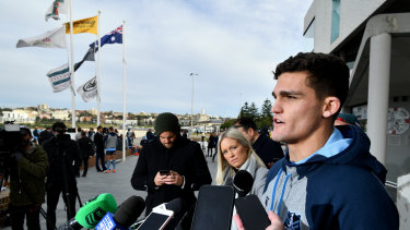 Nathan Cleary addresses the media in Sydney on Tuesday morning.