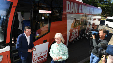 Premier Daniel Andrews boarded his campaign bus again on Tuesday and headed to Morwell.