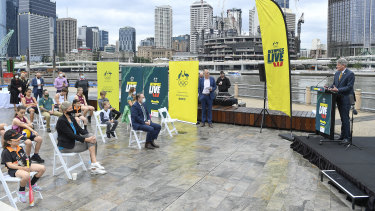 Queensland Sports Minister Stirling Hinchcliffe speaks at South Bank during the announcement of the Olympics Live sites.
