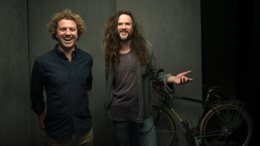 Leon Morton, left, and Cameron Ford, two of the five-man Australian crew behind film The Bikes of Wrath.